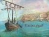 Лодка на фоне карты